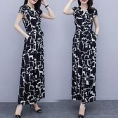 連身裙 氣質女神范九分連身裙套裝女夏裝薄款雪紡連身裙闊腿褲裙 晶彩 99免運