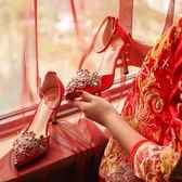 紅色婚鞋秀禾服鞋高跟鞋中式新娘鞋水鑚一字扣結婚鞋子  茱莉亞嚴選