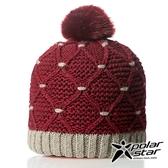 【PolarStar】女 拼色保暖帽『暗紅』P18606 羊毛帽 毛球帽 素色帽 針織帽 毛帽 毛線帽 帽子