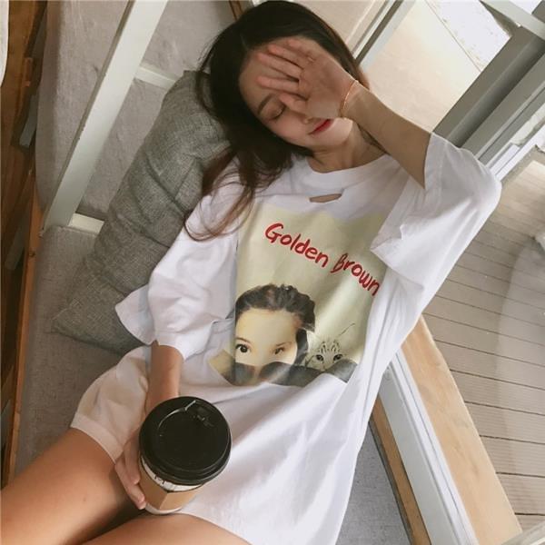 [超豐國際]夏季寬松破洞圖案印花短袖T恤百搭顯瘦休閑圓領上衣1入