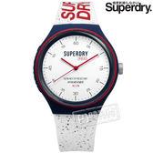 Superdry 極度乾燥 / SYG227W / 潮流品牌 亮眼撞色 防水50米 日本機芯 舒適矽膠手錶 白x藍紅 43mm
