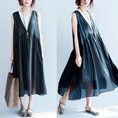 長裙 洋裝 大尺碼 顯瘦連衣裙女mm新款夏文藝減齡中長款背心裙遮肚子顯瘦