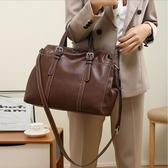 真皮手提包-復古大容量牛皮純色女肩背包2色73yp29【巴黎精品】