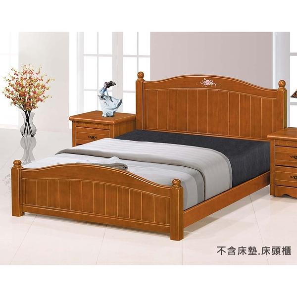 【森可家居】艾倫5尺柚木色彩繪床台 8JX369-2 床架