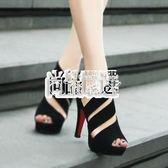 新款鏤空涼鞋 夏季女鞋高跟鞋粗跟魚嘴鞋防水台羅馬鞋 萬聖節