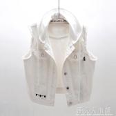 新款韓版百搭連帽牛仔馬甲女夏短款白色無袖背心馬夾坎肩上衣 「錢夫人小鋪」