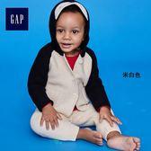 Gap男女嬰兒 可愛企鵝造型長袖針織連帽衫 400017-米白色