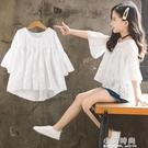 超洋氣大女童短袖體t恤2019新款韓版夏裝中袖雪紡寬鬆半袖上衣潮【小艾新品】