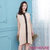 【RED HOUSE 蕾赫斯】拼色長版針織上衣(淺卡其)
