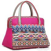 民族風帆布手提包女印花布包甜美淑女包包時尚小拎包飯盒包媽咪包