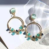春天綠葉寶石金屬圓環耳環 耳針 JET9797