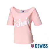 K-SWISS Loose Fit Tee印花短袖T恤-女-粉紅