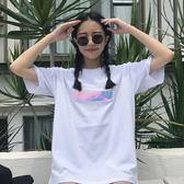 韓版個性鐳射後背字母印花寬鬆圓領短袖T恤打底衫上衣潮   卡菲婭