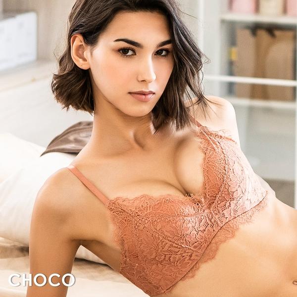 Choco Shop-花漾第戎‧無鋼圈完美撐托包覆蕾絲內衣(橘色) 70B~85C