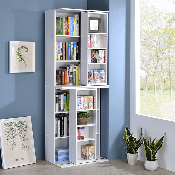 【品味玩傢】小尺寸雙排活動書櫃二入 大容量書櫃 寬60CM 全鋼鐵鋼珠滑輪 展示櫃