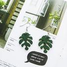 木質綠色樹葉葉子簡約耳環 氣質韓版個性百...
