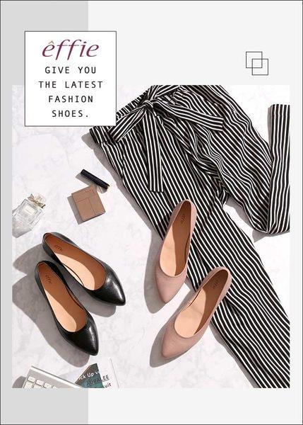 effie 輕甜自適 素面真皮壓紋低跟鞋  黑軟皮