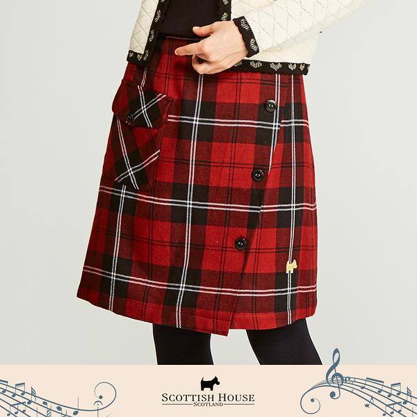 【Scottish House】 紅黑格 平口 格紋 一片式及膝裙 (AN2112)