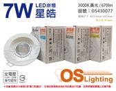 OSRAM歐司朗 LEDVANCE 星皓 7W 3000K 黃光 24度 全電壓 9.5cm 崁燈 _ OS430077