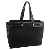 【奢華時尚】HERMES 黑色布面Herbag肩背雙尺寸托特包(八八成新)#25177