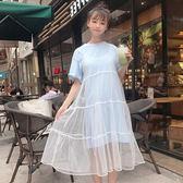 裙子女夏2018新款潮正韓學生寬鬆短袖可愛網紗拼接假兩件連衣裙限時八九折