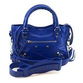 【奢華時尚】BALENCIAGA寶藍色牛皮銀釦手提斜背兩用Mini City包(九五成新)#24750