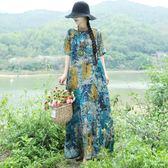 民族風棉麻連衣裙復古盤扣媽媽裝寬鬆遮肉長裙
