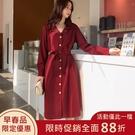 連身裙.韓版百搭單排扣西裝領長袖洋裝.白鳥麗子