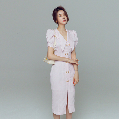 OL洋裝 氣質 3776夏季韓版時尚單排扣職業裝中長款輕熟風氣質連身裙通勤服NA71A紅粉佳人
