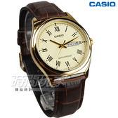 CASIO卡西歐 MTP-V006GL-9B 經典優雅石英男錶 真皮錶帶 學生手錶 防水 咖啡x金 MTP-V006GL-9BUDF