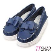 莫卡辛-TTSNAP MIT全真皮甜美蝴蝶結厚底休閒鞋 藍