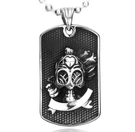 《QBOX 》FASHION 飾品【CBP8-036】精緻個性歐美龐克風軍牌骷顱頭鑄造鈦鋼墬子項鍊/掛飾