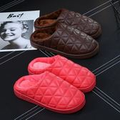 冬季皮棉拖鞋男居家用室內防水保暖包跟厚底情侶pu皮面毛毛拖鞋女  印象家品旗艦店
