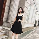 赫本風小黑裙夏裝新款復古小香風修身氣質短...