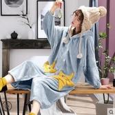 浴袍韓版睡衣女秋冬季珊瑚絨加厚加長款大碼星星睡袍女連帽浴袍被睡裙春季特賣