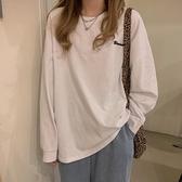 英字母T 秋季正韓學生刺繡字母打底衫長袖T恤寬鬆慵懶外穿上衣女-Milano米蘭