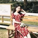 碎花裙法式復古方領連身裙