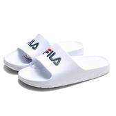 FILA (偏小建議大一號) 白 紅深藍 英文LOGO 基本款 防水 拖鞋 男女 (布魯克林) 4S355Q113