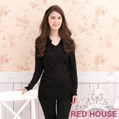 【RED HOUSE-蕾赫斯】毛領布蕾絲洋裝(經典黑)