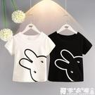 兒童T恤2020夏季新款韓版女寶寶休閑百搭上衣男童圓領小兔子短袖 快速出貨