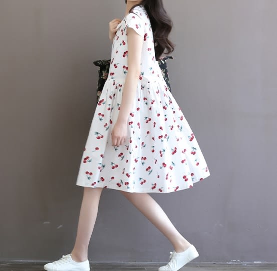 ☆莎lala (8折商品)【Y608010 】日系櫻桃印花洋裝-(現)棉麻連身裙+背心連身內搭(SIZE:L)