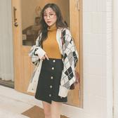 MUMU【P11209】韓。斜排扣毛呢A字短裙。棕/黑
