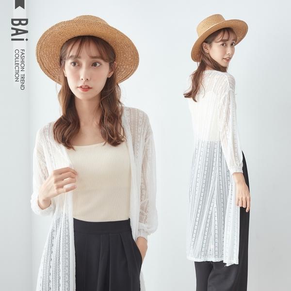 外套 花朵直條透肌款開襟長版罩衫-BAi白媽媽【190841】