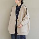 純棉拼色針織開衫 V領單排扣長袖毛衣外套/3色-夢想家-0118