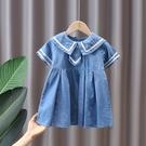 女童洋裝 女童連身裙夏2021新款洋氣兒童小童夏季學院風女寶寶牛仔夏裝裙子