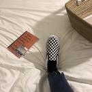 帆布鞋 夏季ins棋盤黑白格一腳蹬帆布鞋百搭學院chic男女情侶布鞋【618特惠】