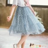女童波點網紗裙2020夏裝新款中大童洋氣半身裙兒童女孩A子傘裙子 KP1520【花貓女王】