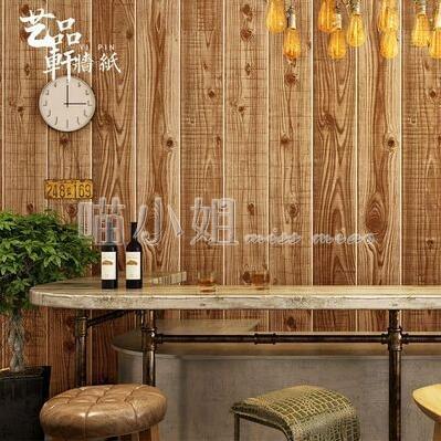 牆貼 中式復古懷舊仿古木紋木板牆紙個性飯店餐廳原木色條紋背景牆壁紙 NMS喵小姐