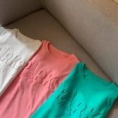 (下殺)棉短袖t恤女中長版韓版設計款凹凸立體字母上衣【08SG06966】