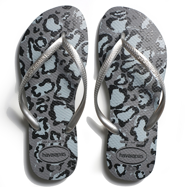 HAVAIANAS 哈瓦仕 人字拖 SLIM ANIMAL FC 灰色豹紋 拖鞋 女 (布魯克林) 41033521765W